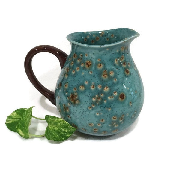 Ceramic Water Pitcher in Warm Jewel Tones of Teal Blue
