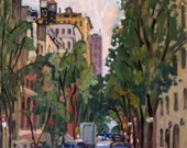 From 92nd and Fifth, East Side Overcast NYC. 16x12 Oil on Panel, Impressionist Cityscape, New York City Painting, Signed Original Fine Art