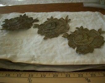Metallic rose applique of the 1920s antique supplies