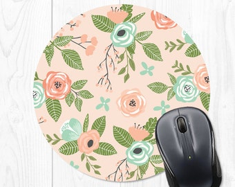 Mousepad Mouse Pad Mousepads Floral Mint Pink Office Supplies Office Desk Accessories Office Decor Office Gifts for Coworker Cubicle Decor