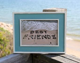 Beach Stone Word Art- Best Friends, rustic beach photo, beach theme, friend gift, framed photography, coastal decor, turquoise blue frame