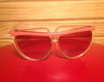 VINTAGE Too Cool For School 80s Sunglasses Pink Trim UP TOP Ladies