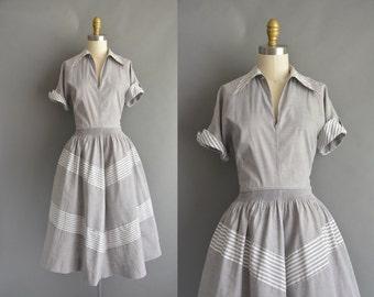 vintage 1950s dress / 50s gray cotton stripe vintage dress