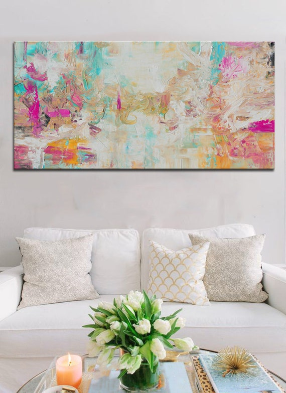 Abstract aqua salmon print from original painting by - Imagenes de paredes pintadas ...