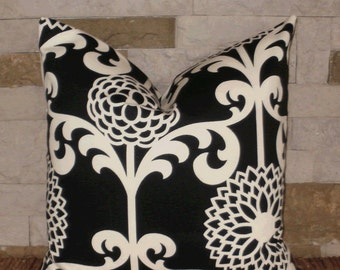 "SALE ~ Decorative Pillow Cover: Waverly 18"" Black Mod Floral Accent Throw Pillow Cover"