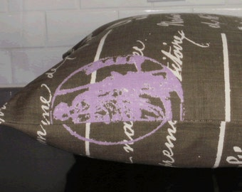 SALE ~ Decorative Pillow Cover:  Script Fabric in Chocolate 18 X 18 inch Accent Throw Pillow Cover