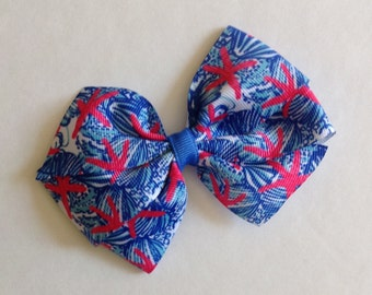 Pink Starfish & Blue Shell Print Bow by Cheryl's Bowtique, lilly inspired, beach, ocean