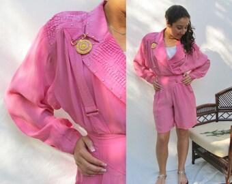 Pink Glitz Romper Jumpsuit, Rhinestones, Medallions, Silky Polyester, Lillie Rubin, Shorts, Vintage 80s