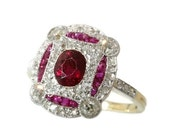 Valentines Sales Art Deco Ruby Diamond Ring Yellow Gold 18K Engagement Ring 1920s Jewelry