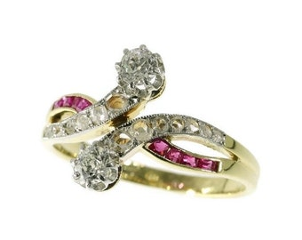 Summer Sale Extraordinary Art Deco toi and moi engagement ring with diamonds and rubies