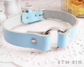 Blue Leather O Ring Choker, Blue O Choker, Blue Leather Choker, Leather Circle Choker, Blue Circle Choker, O Ring Necklace, BDSM Collar
