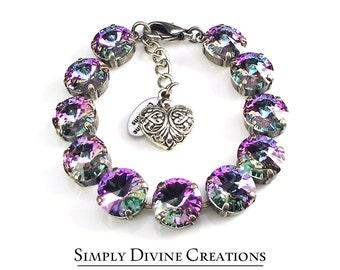 Swarovski Bracelet, VITRAIL LIGHT 12mm Swarovski Crystal Rivoli Bracelet Made With Swarovski Elements, Statement Bracelet