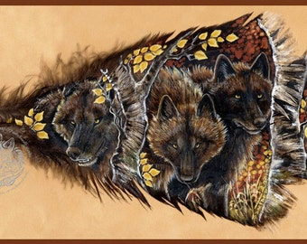 Autumn Black Wolf Pack Feather Print