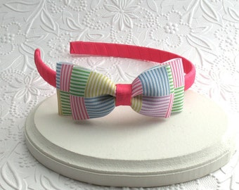Preppy Seersucker Plaid Toddler & Big Girls Hard Bow Headband ~ Boutique Bow Headband