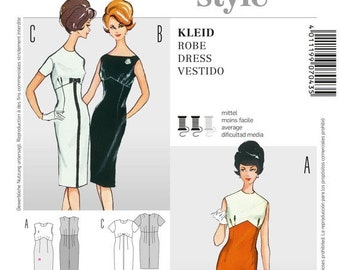 ON SALE Misses' 60's Style Sheath Dress in Crew Neck or Bateau Neckline - Vintage 60's Reissued Pattern - Sz 10 thru 22 - Burda Style 7043