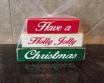 Have  Holly Jolly Christmas Wood Blocks-Mini Stacker