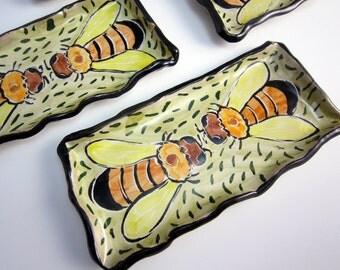 Ceramic Spoon Rest - Honey Bee - Small Tray - Sushi Dish - Pottery Butter Dish - Clay Majolica Yellow Green Orange - Trinket Tray