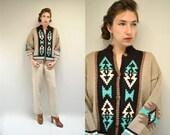 Southwest Cardigan  //  Chunky Wool Sweater //  SANTA CLARA