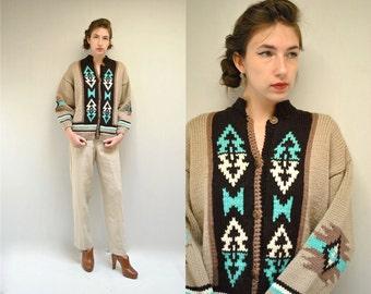Southwest Cardigan  //  Wool Cardigan Sweater //  SANTA CLARA