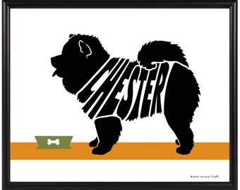 Personalized Chow Silhouette Print, Framed 8x10 Dog Name Art Print, Dog Memorial Gift