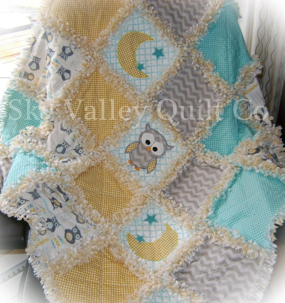 Rag Quilt Owl Pattern : Baby Boy Rag Quilt Little owl in yellow and by skyvalleyquiltco