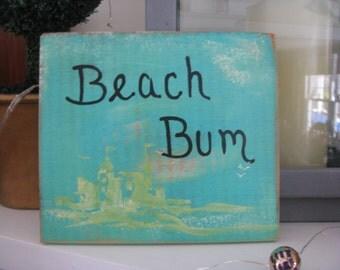 Beach Bum Handpainted Sign