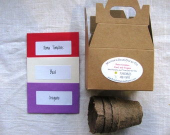 READY TO SHIP- Marinara Sauce Seed Starter Kit for 2017- Includes Roma tomatoes, Basil, and Oregano seed packets and 3 starter pots