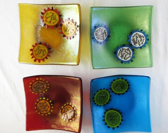 Infulenza Virus Set of Four Fused Glass Bowls Made to Order