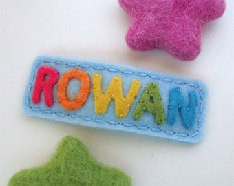Felt hair clip -Back to school personalized rainbow bow -No slip -Wool felt -customized name/colour/size