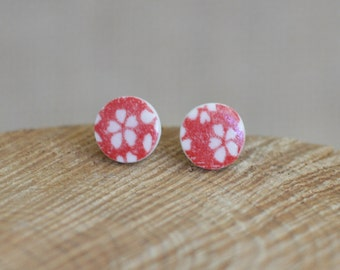 Red Flower Porcelain Studs, Ceramic Earrings by Mrs Peterson Pottery