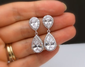 wedding bridal jewelry christmas bridesmaid prom gift party pageant Clear white teardrop cubic zirconia teardrop cz rhodium post earrings