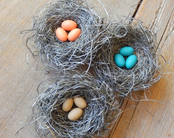 Bird Nests Autumn Woodland Decor Handmade with Fall Set of 3 by AMarigoldLife on Etsy