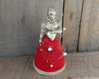 Pin Cushion Vintage Victorian Lady Red Velvet Skirt Ornate Sewing Notion
