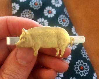 Vintage style raw brass pig tie bar clip // handmade in the USA // unique mens jewelry statement piece Gift idea // antique hog sow farmer