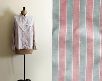 vintage shirt blouse pastel striped 80s wrangler button down 1980s womens clothing size large l