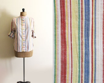 vintage blouse 60s shirt striped rainbow 1960s womens clothing button down size l large