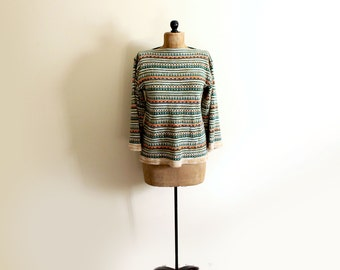 vintage sweater 1960's womens clothing striped geometric neutral green brown bell sleeves retro size m l medium large