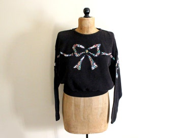 vintage sweater bow 80s black oversized patchwork womens clothin 1980s size large l
