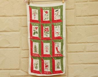 Vintage 60s-70s Christmas Tea towel Retro Mid Century Home Decor