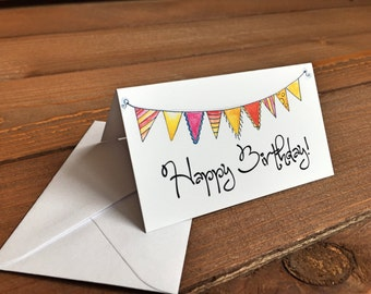 Happy Birthday Gift Enclosure Cards, Mini Notecards, Happy Birthday Card, Mini Notes, Small Cards - 2 x 3.5 Mini Note Card with Envelope