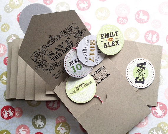Self-mailing Save the Date on kraft paper, eco-friendly, pull out bubbles, quirky & whimscial, so fun! DEPOSIT
