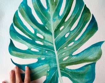 """Monstera Leaf Original Painting 22""""x19"""" Acrylic on Heavy Watercolor Paper + Free Shipping!"""