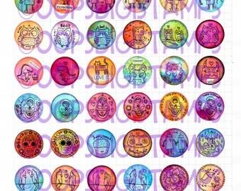 Printable Bottle Cap Images - 96 different designs - 1 inch circles - Bottle Cap Art - Printable Sticker - Clip Art - Printables - 2 Pages