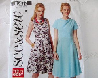 See & Sew B5872 - uncut, unused, fitted dress, 6, 8,10, 12,14,16,18, 20, 22