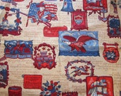 vintage BARKCLOTH fabric - 38 x 44 inches - PATRIOTIC bark cloth - liberty bell, spirit of 1776, freedom, constitution