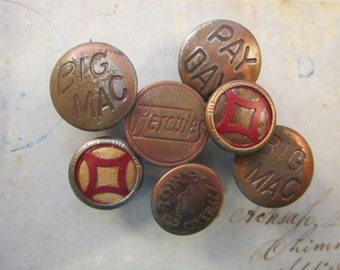 7 vintage work clothes buttons - CROWN Overall, Big Mac, Pay Day, Hercules and more