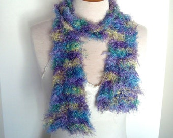 Vintage Handmade Striped Fuzzy Scarf - Soft Yarn With Stripes of Yellow, Purple and Aqua. Long Scarf Arty Geometric Brights Gifts Under 20