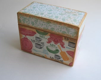 Recipe Card Box- Vintage Cooking Tools / Multi Colored