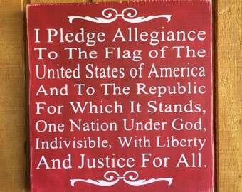 Pledge of Allegiance Wood Board