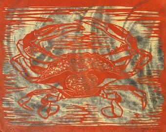 Crab in Black and Red - Original Woodblock Print